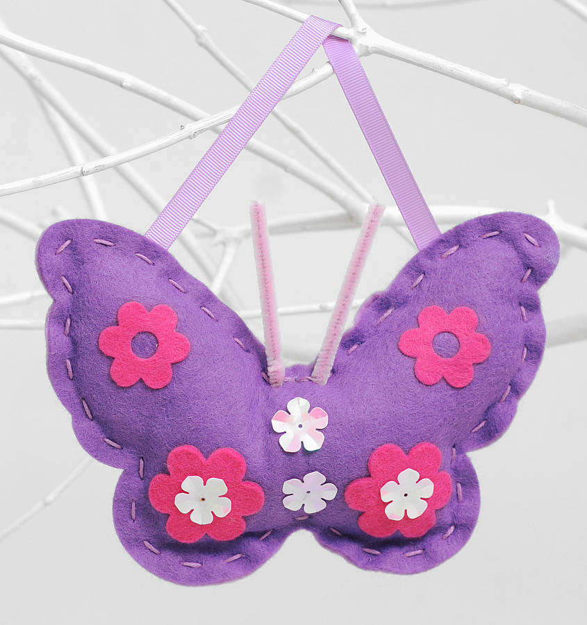 butterfly sewing craft kit in purple girls gift by kitty ...