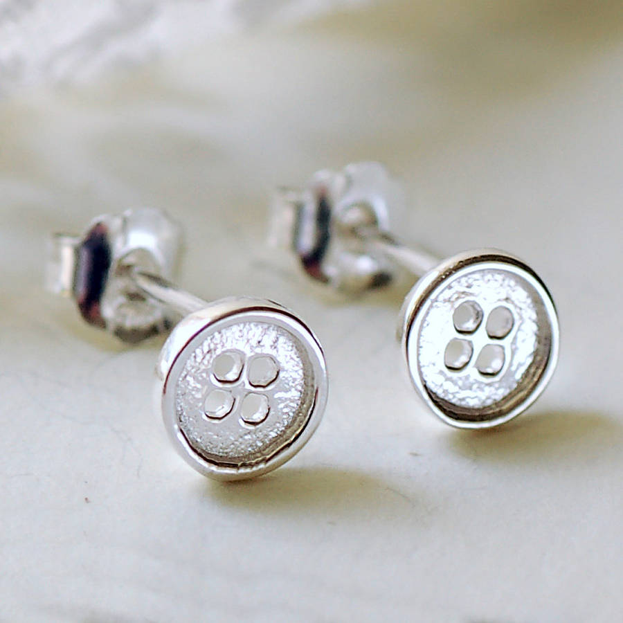 tiny silver button stud earrings by highland angel