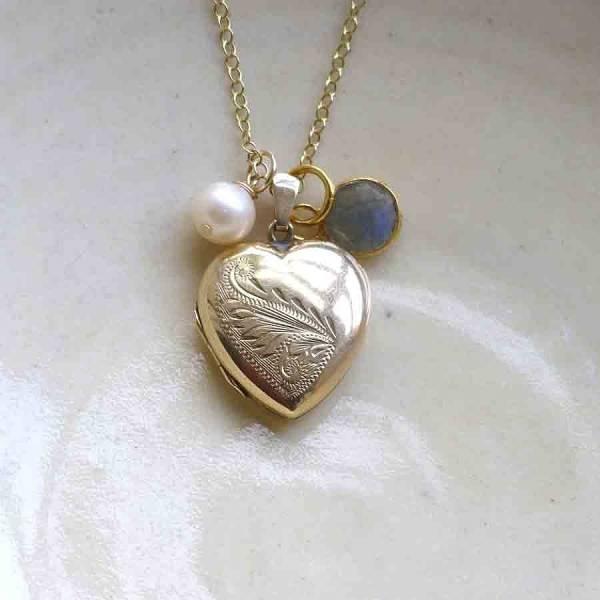 Gold Vintage Heart Locket Necklace Lime Tree Design