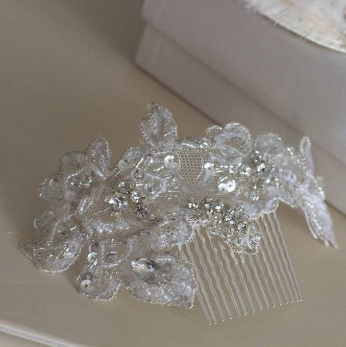 beaded lace hair comb / band 'gretta'