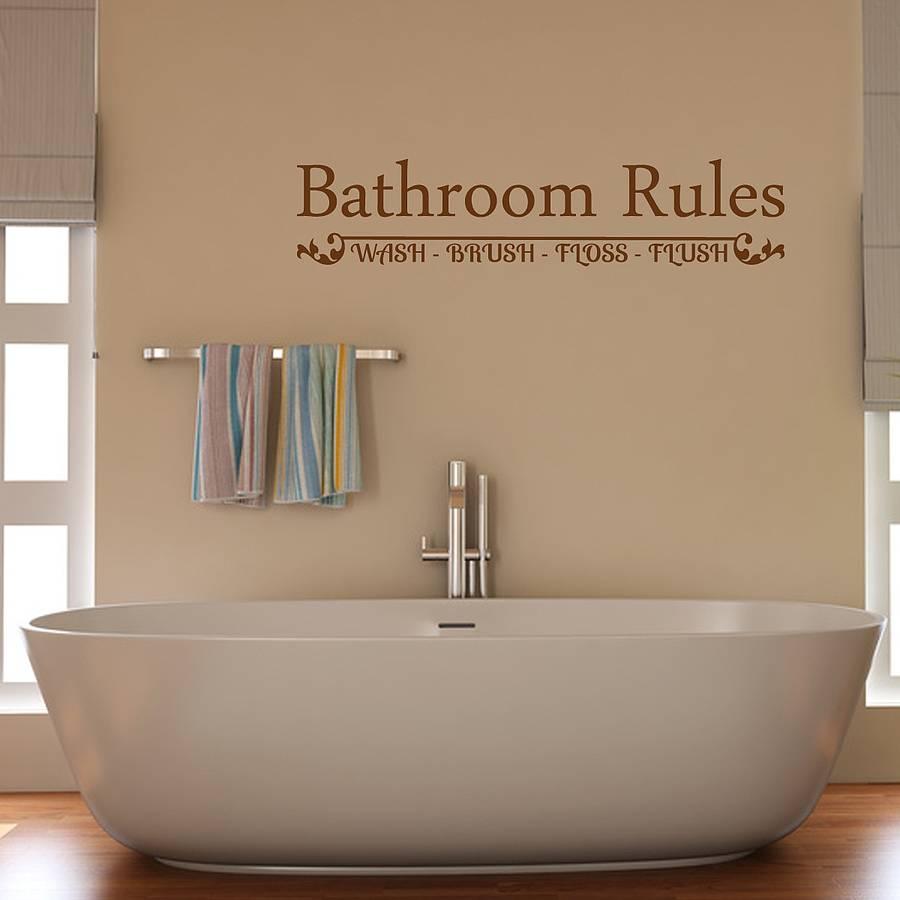 bathroom rules wall sticker by mirrorin