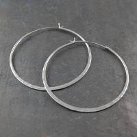 battered sterling silver large hoop earrings by otis jaxon
