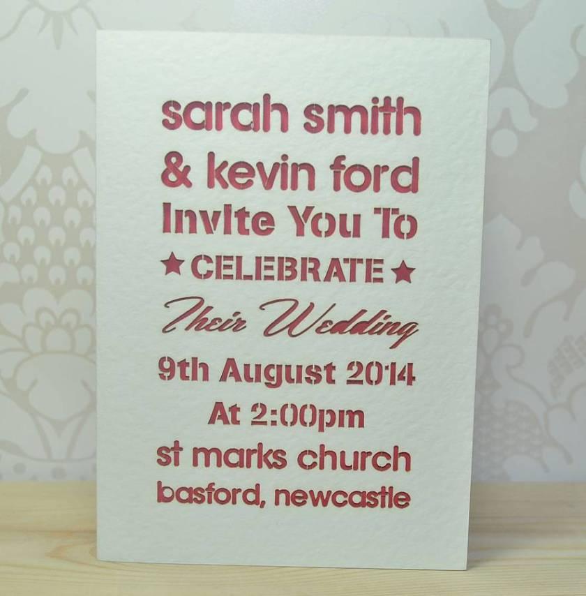 Laser Cut Typography Wedding Invitation