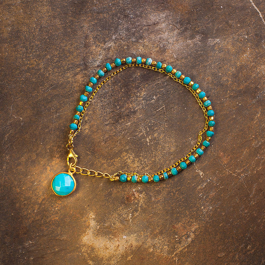 turquoise and gold friendship bracelet by rochelle