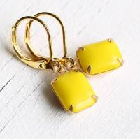 neon yellow earrings by silk purse, sow's ear