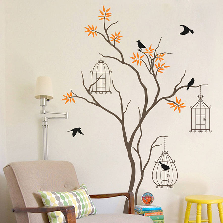 tree with birds and birdcage wall decal by wall art