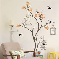 tree with birds and birdcage wall decal by wall art ...