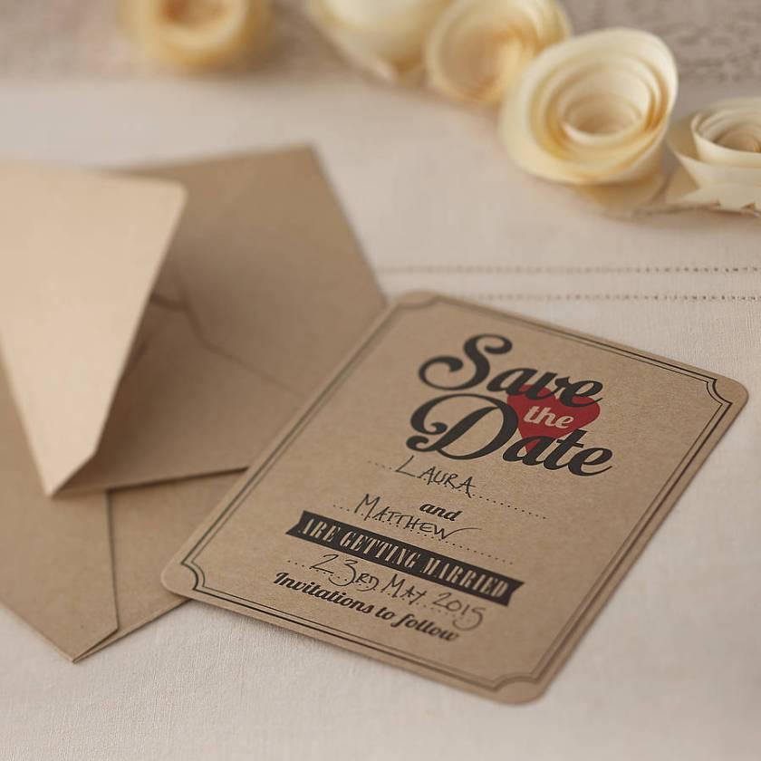 Brown Kraft Save The Date Wedding Invites