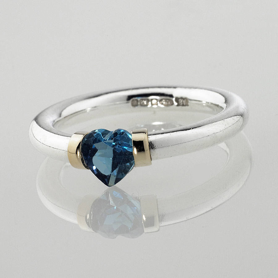 I Love You Heart Shaped Gemstone Ring By Anthony Blakeney