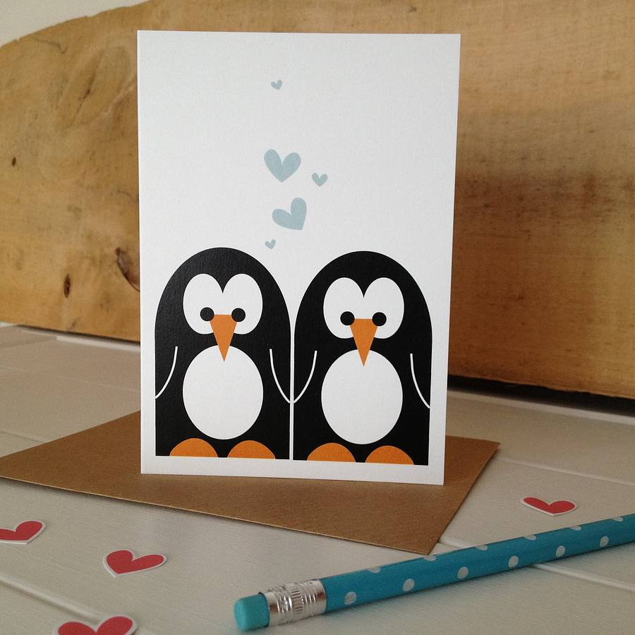 Mr And Mrs Penguin Wedding And Valentines Card By Half