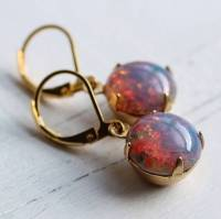pink fire opal earrings by silk purse, sow's ear ...