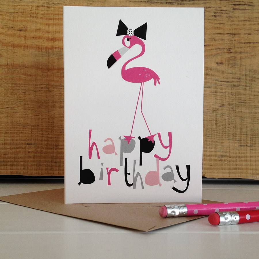 Pink Flamingo 'happy Birthday' Card By Half Pint Home