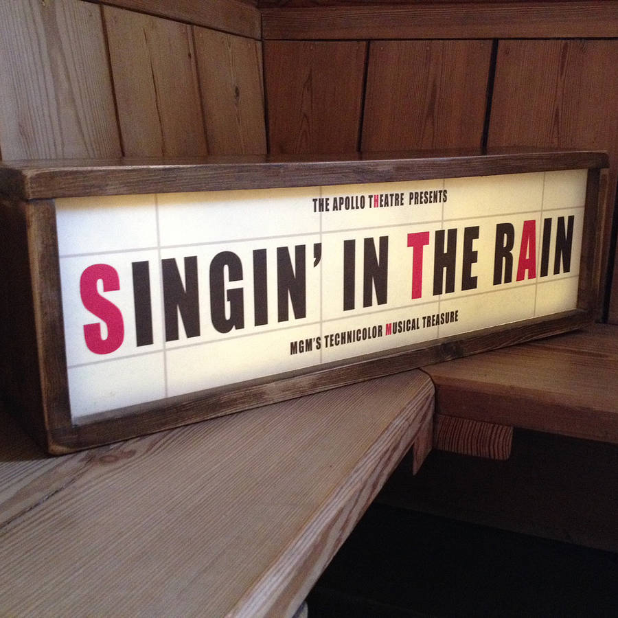 retro style light box cinema sign by daughters of the