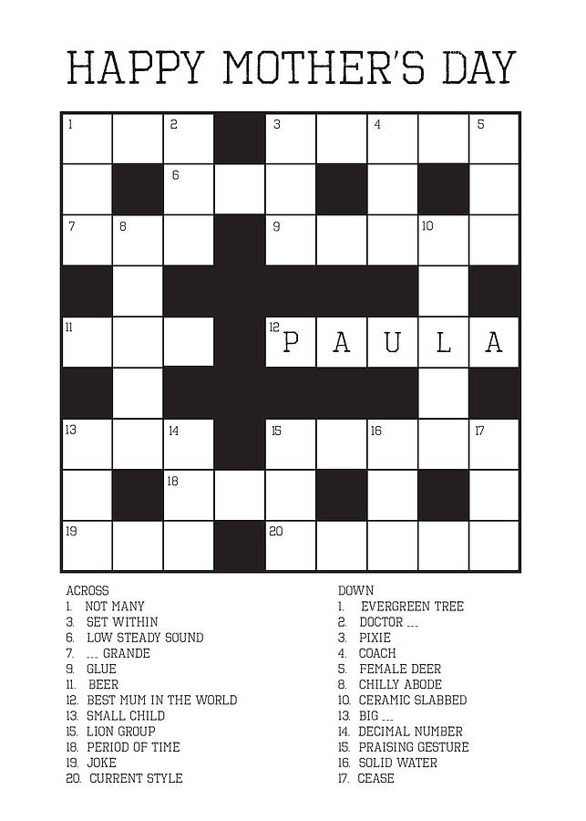 mothers day crossword puzzle personalised mother s day