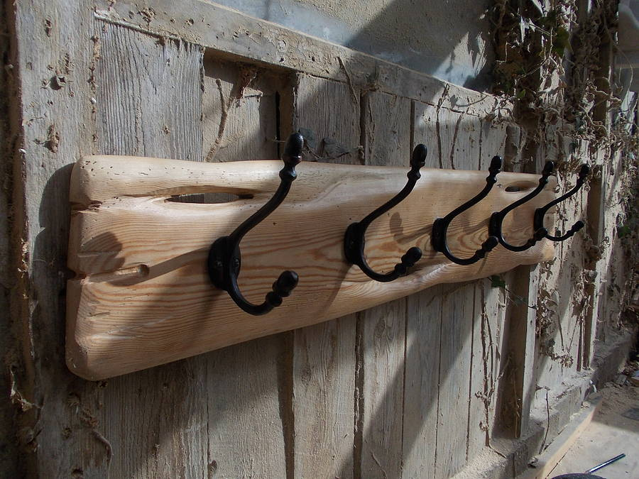 Driftwood Style Coat Rack With Cast Iron Hooks By Seagirl