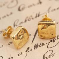 gold organic round stud earrings by otis jaxon silver ...