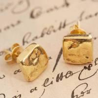 gold organic round stud earrings by otis jaxon silver ...