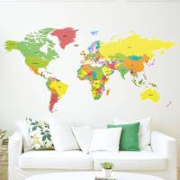 large countries of the world map wall sticker by the ...