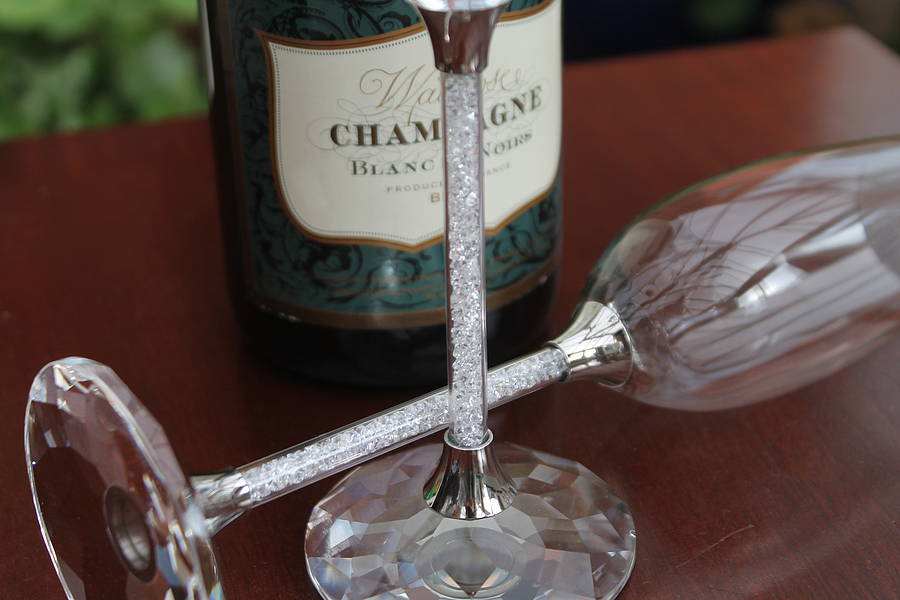 pair of champagne flutes with swarovski crystals by
