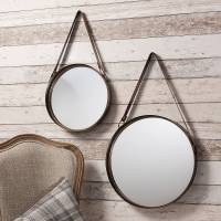 industrial round hanging mirror set with leather strap by ...