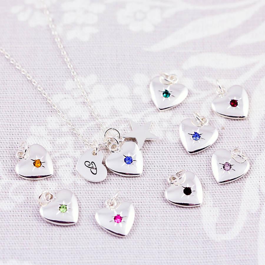 birthstone starburst heart charm necklace by j&s jewellery