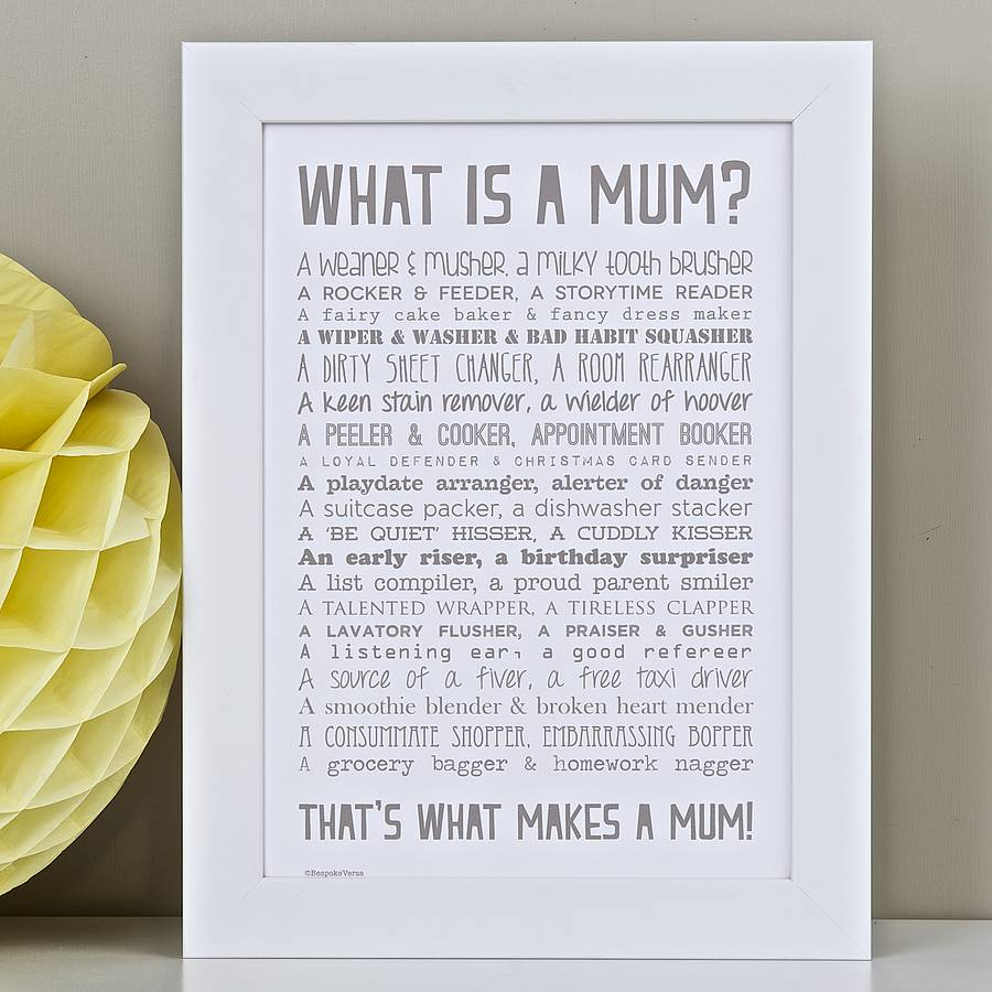 What Is A Mum Poem Print By Bespoke Verse