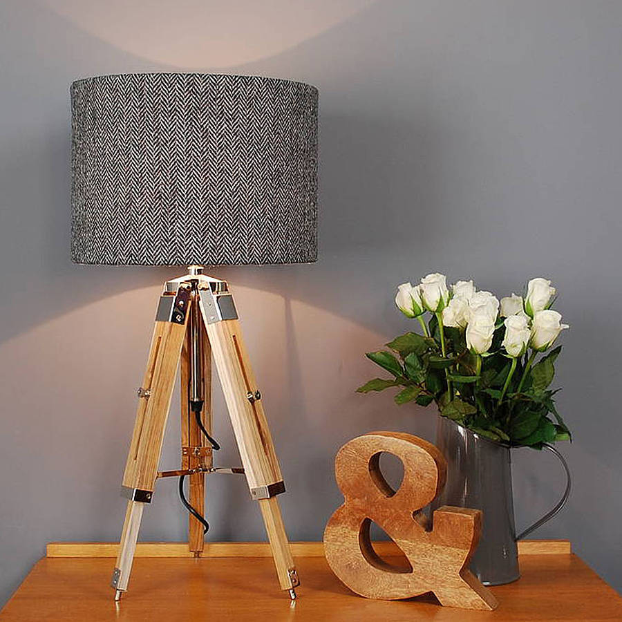 medium resolution of harris tweed herringbone tripod table lamp
