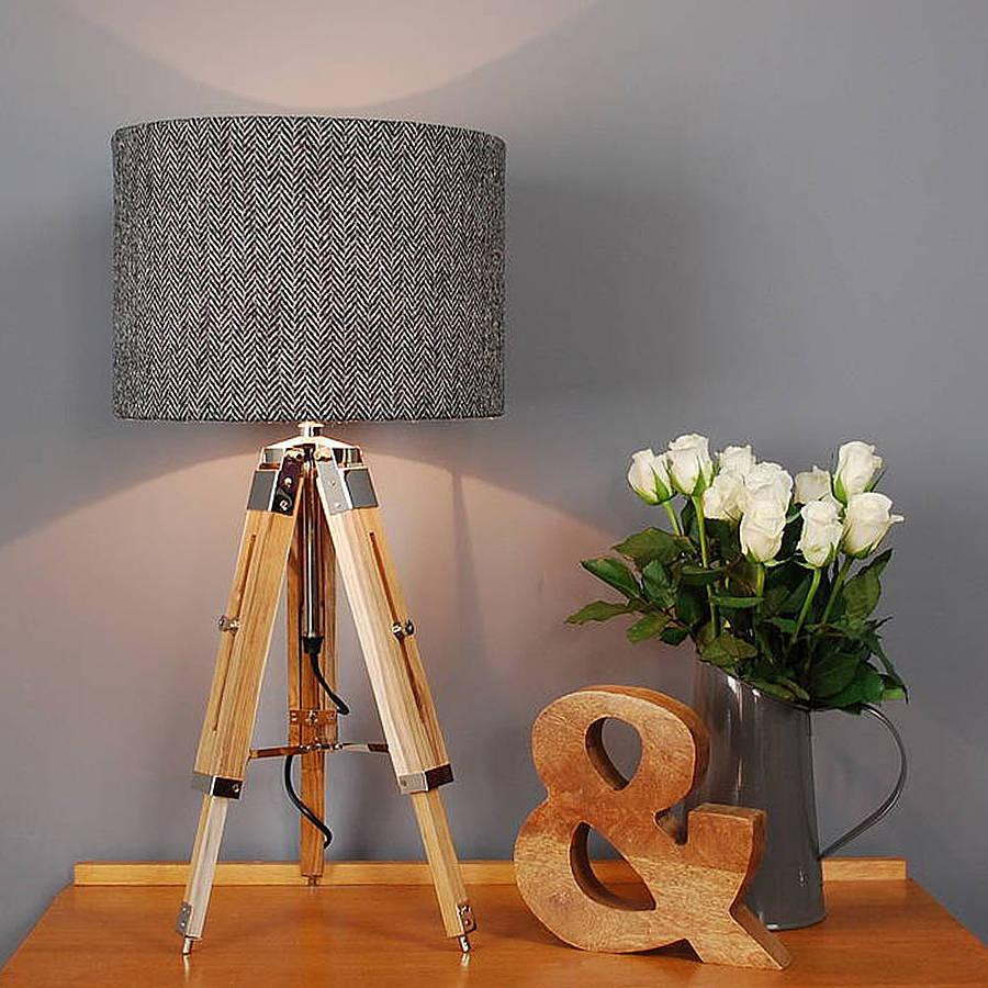 hight resolution of harris tweed herringbone tripod table lamp
