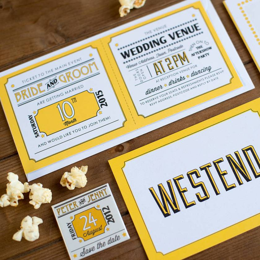 Contemporary Wedding Stationery We Tie The Knot Westend Mustard Save Date