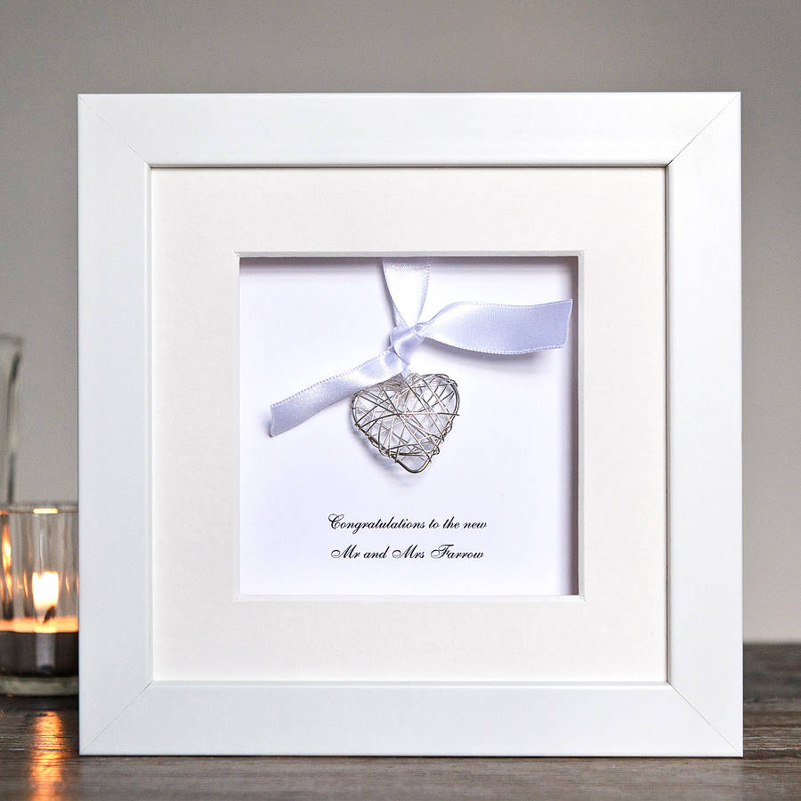 Personalised Wedding Wire Heart Box Frame By Twenty Seven