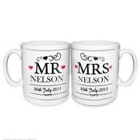 personalised wedding mug set by the letteroom ...