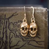 gold skull earrings by cabbage white england ...