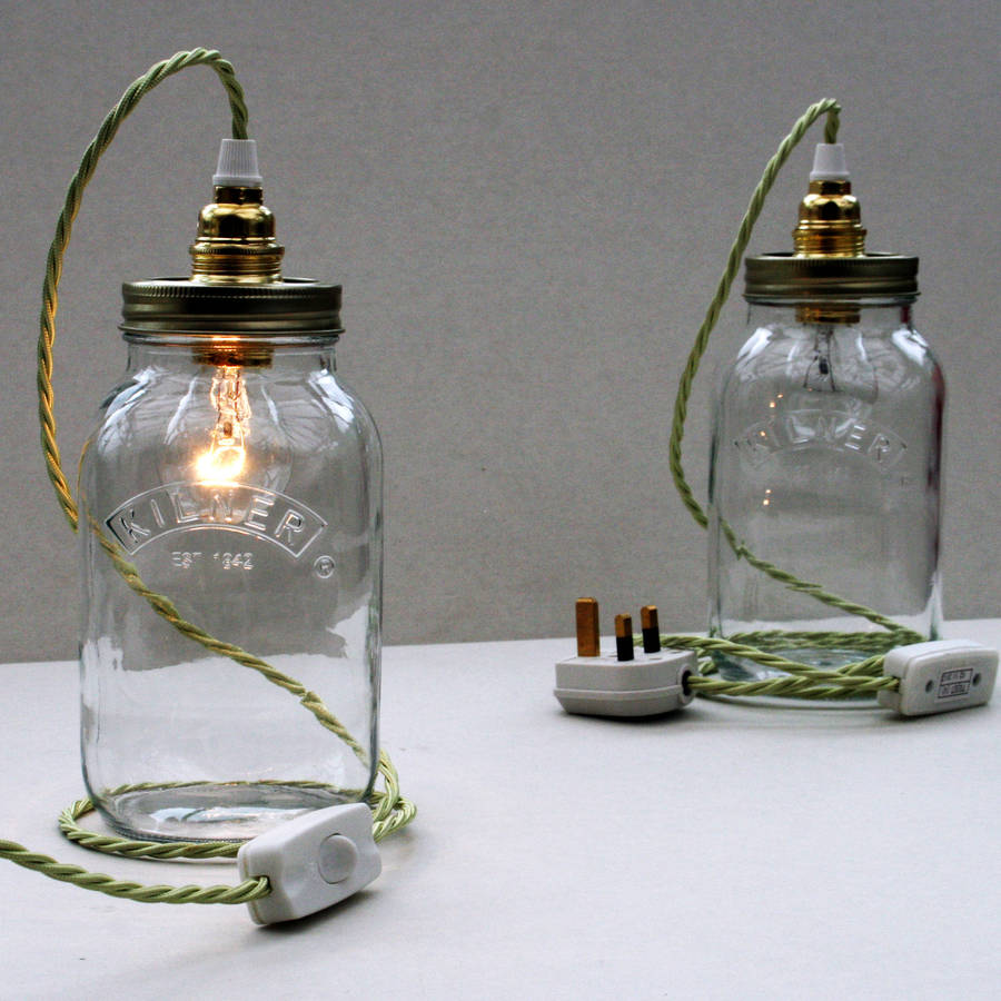 bespoke kilner jar table lamp by unique's co