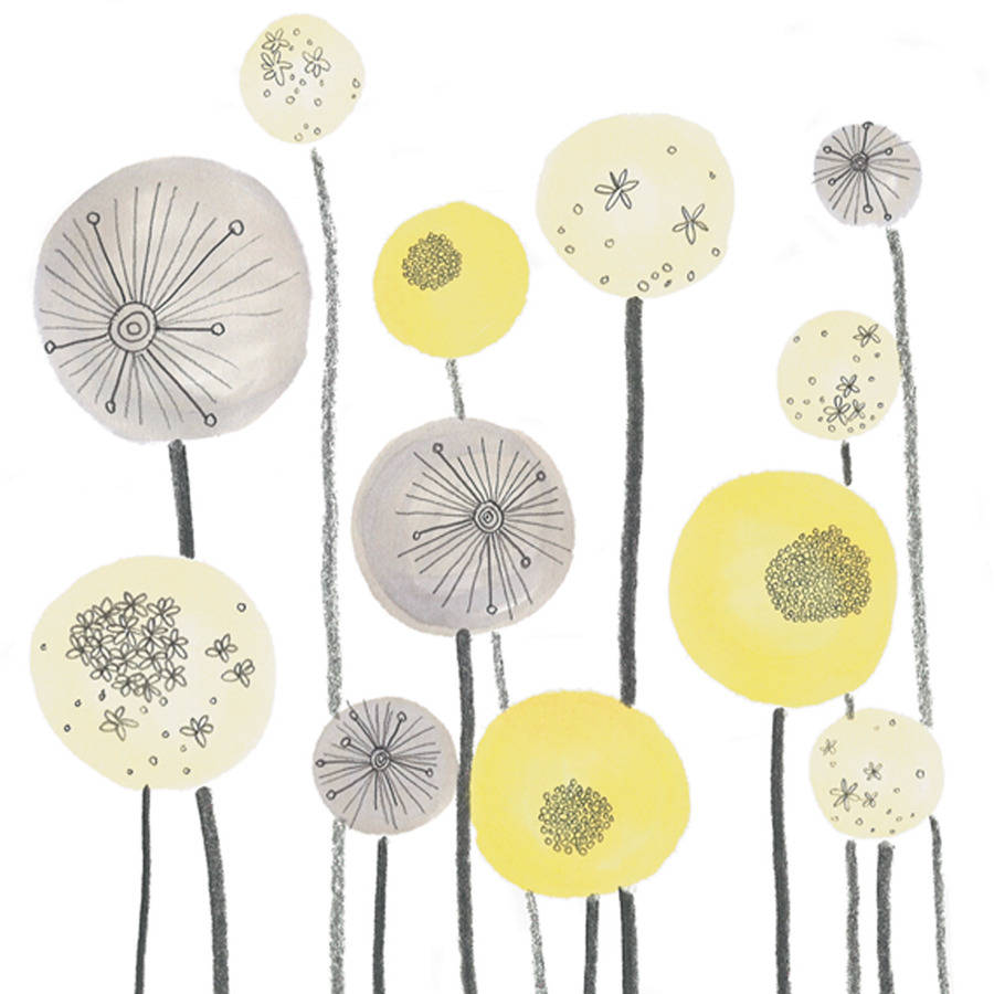yellow and grey seed heads floral art print by jo clark