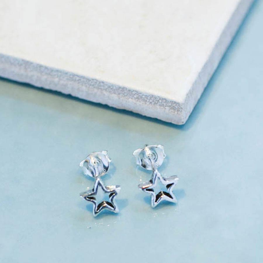 sterling silver star stud earrings by lovethelinks