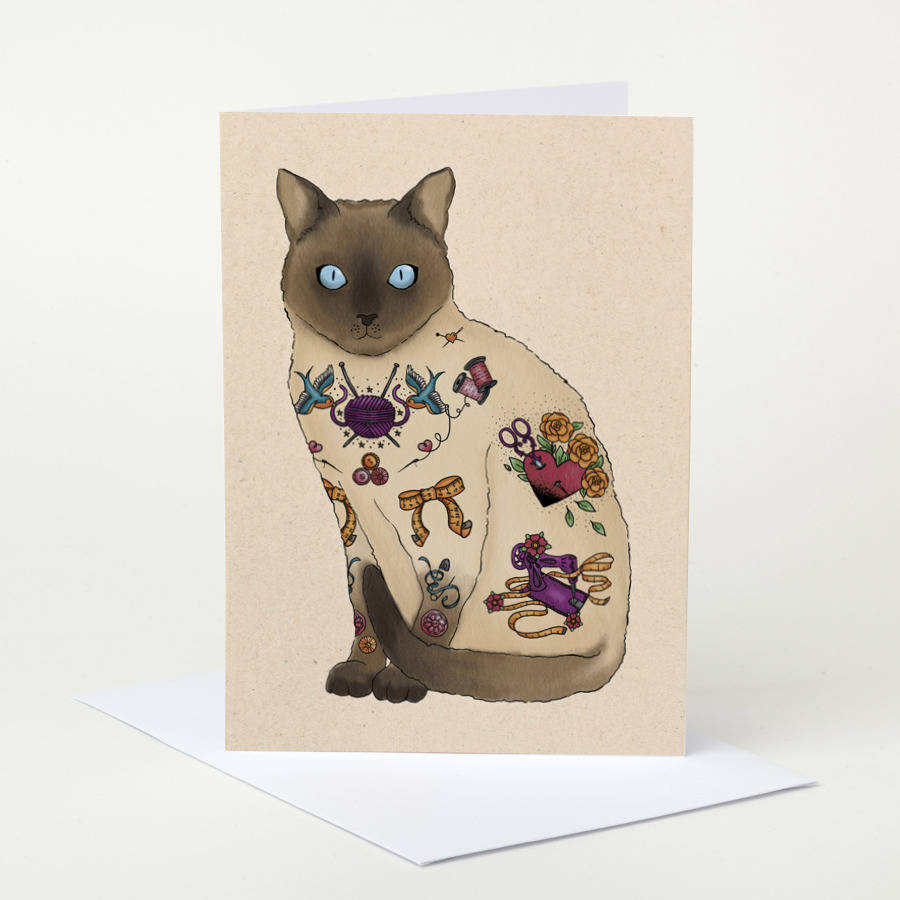 Tattoo Crafty Cat Birthday Card By Pugyeah
