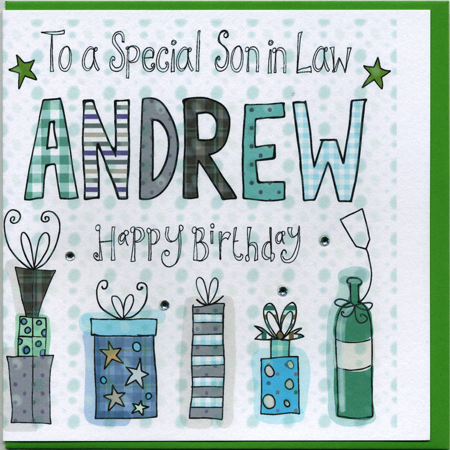 Personalised Son In Law Birthday Card By Claire Sowden