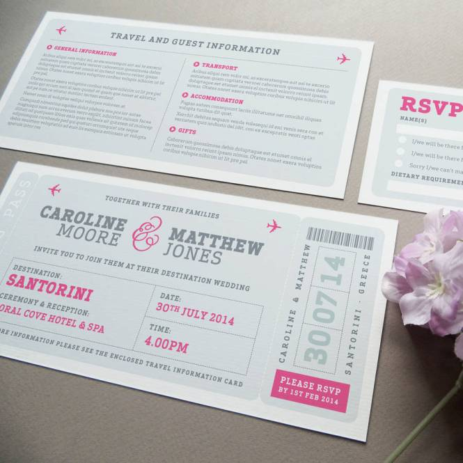 Airline Boarding Pass Wedding