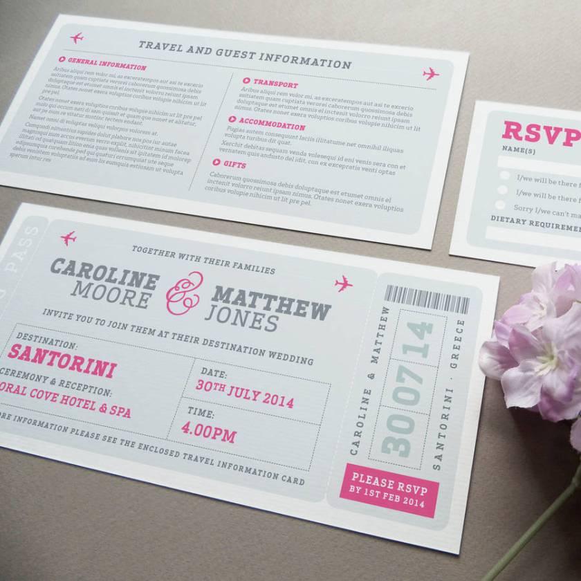 Airline Boarding P Wedding Invitation