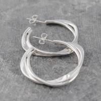 solid sterling silver interwoven hoop earrings by otis