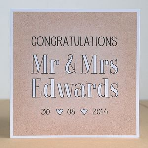 Mr And Mrs Personalised Wedding Card Cards