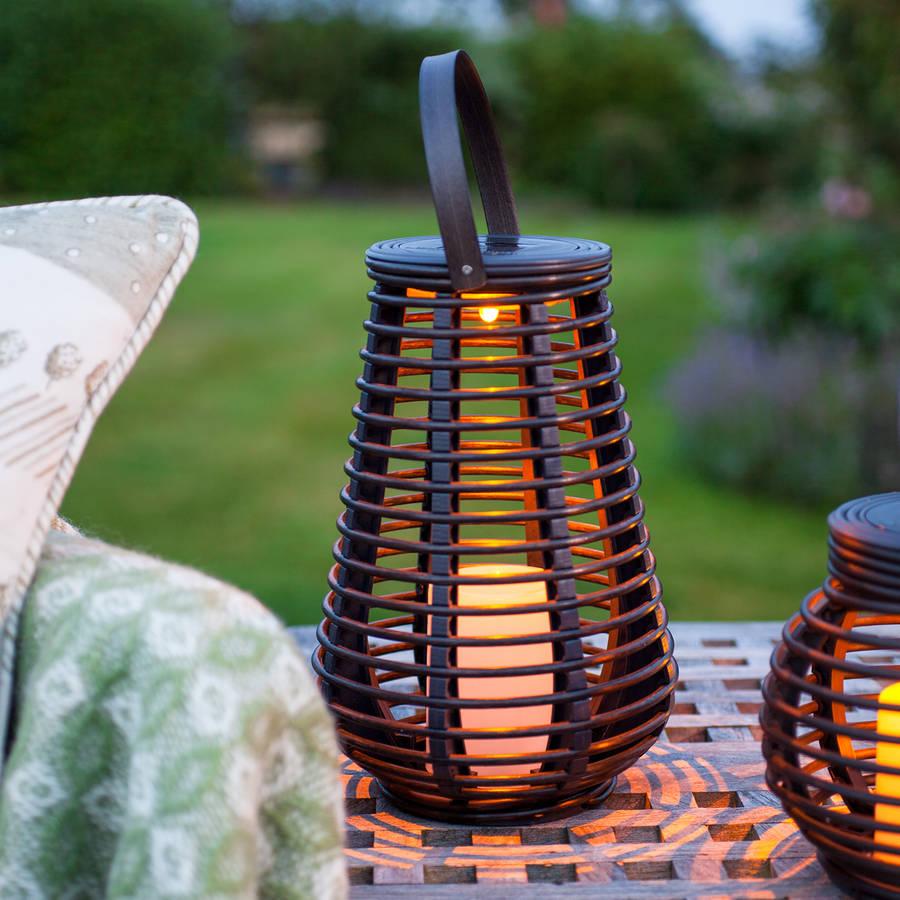 tall solar rattan lantern light by lights4fun