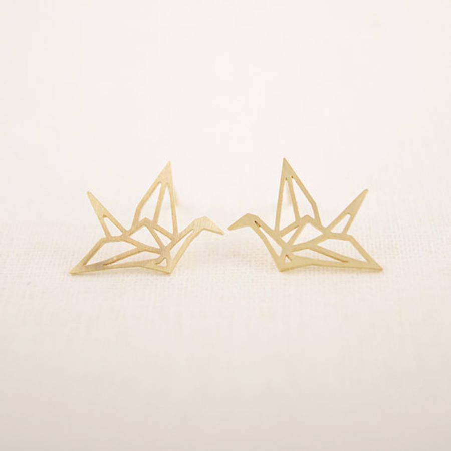 origami crane earrings by junk jewels