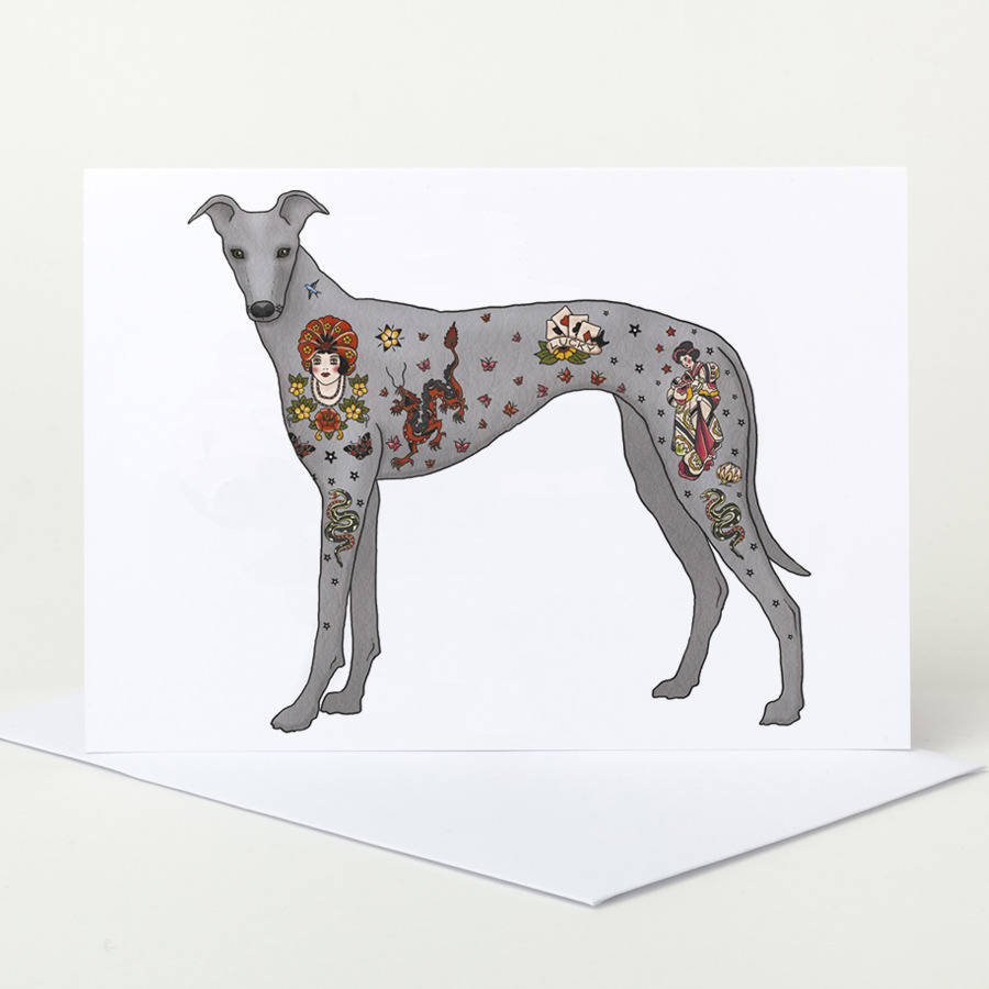 Tattoo Greyhound Greeting Card By Pugyeah