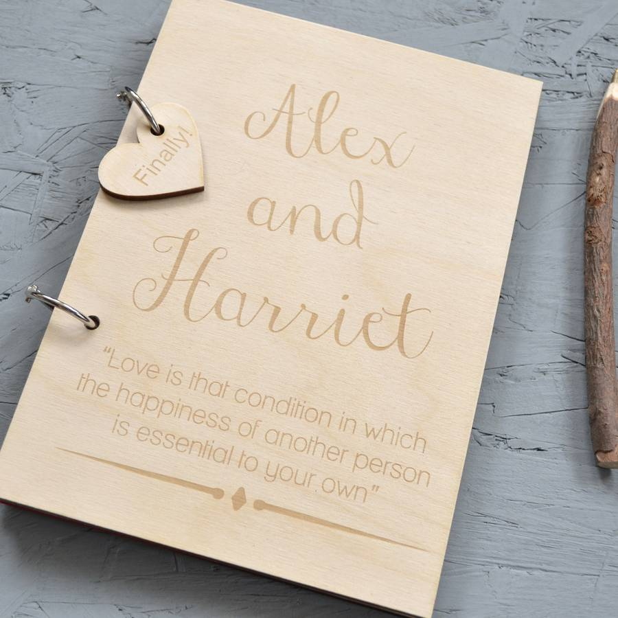 personalised wooden guest book by clouds and currents