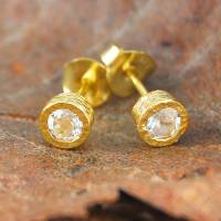 gold and white topaz stud earrings by embers gemstone ...