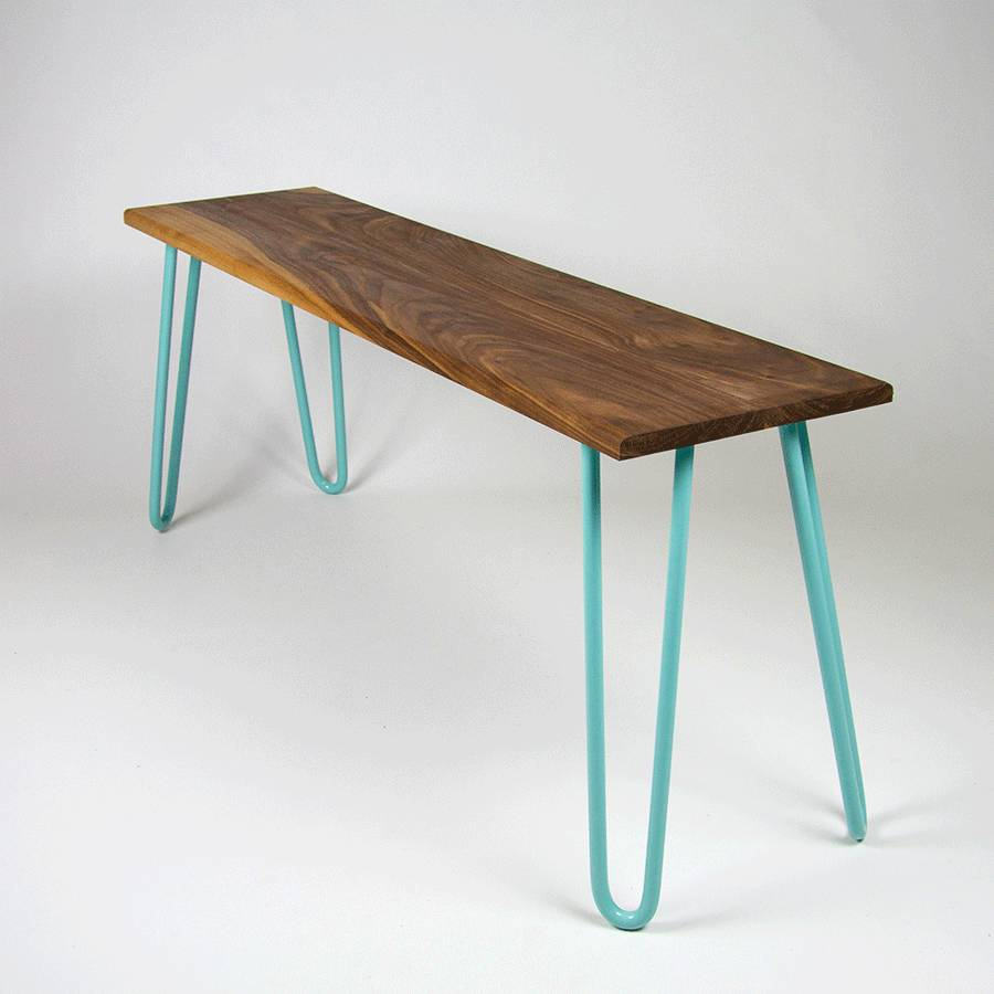 Bench With Industrial Hairpin Legs In Walnut By Cord