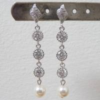 crystal and pearl long drop earrings by katherine swaine ...
