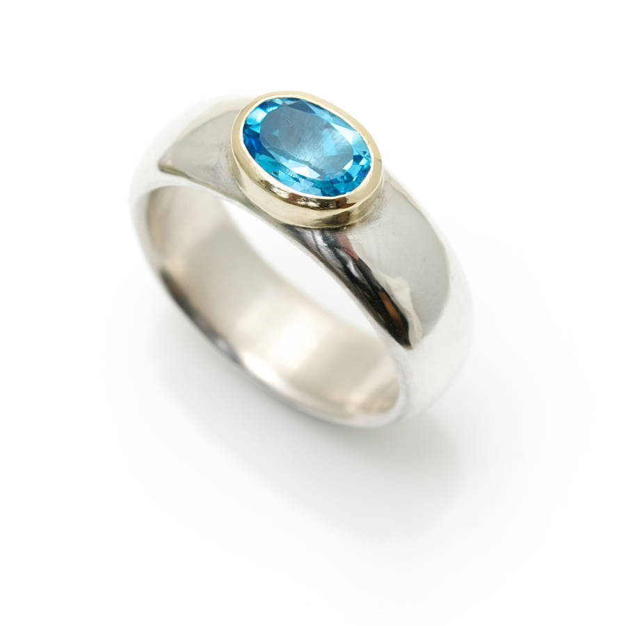 wide silver ring with semi precious stone by alice robson