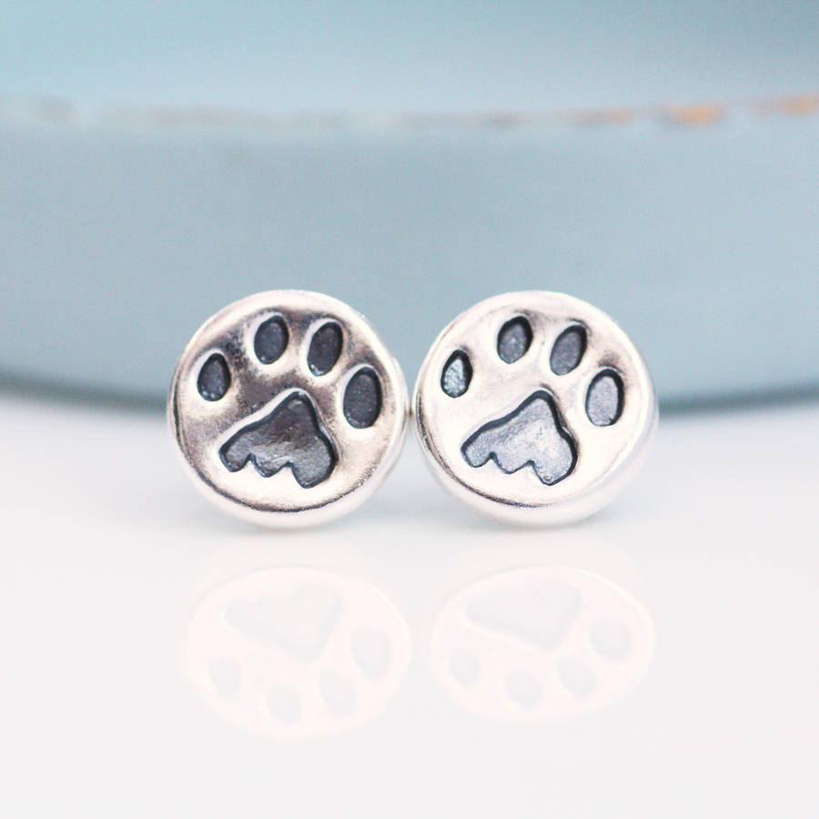 paw print earrings silver studs by green river studio